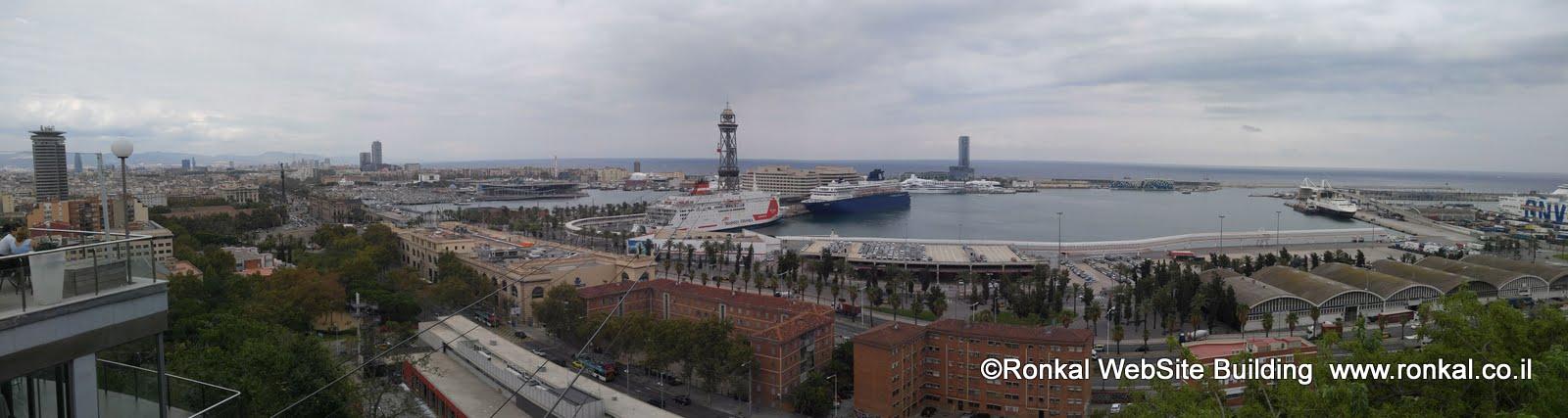 נמל של ברצלונה עם אוניות פאר , port vell